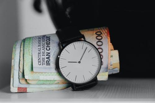 Free stock photo of cash money, clock, clock hands