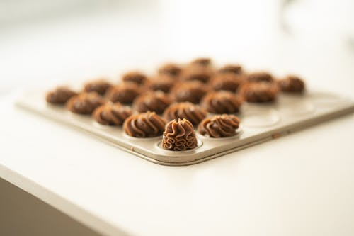 Brown Cookies on White Ceramic Tray