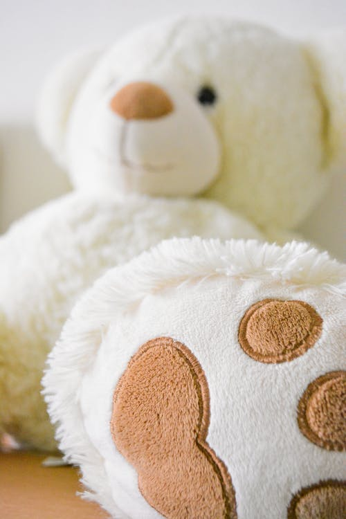 White and Brown Bear Plush Toy Selective Photo