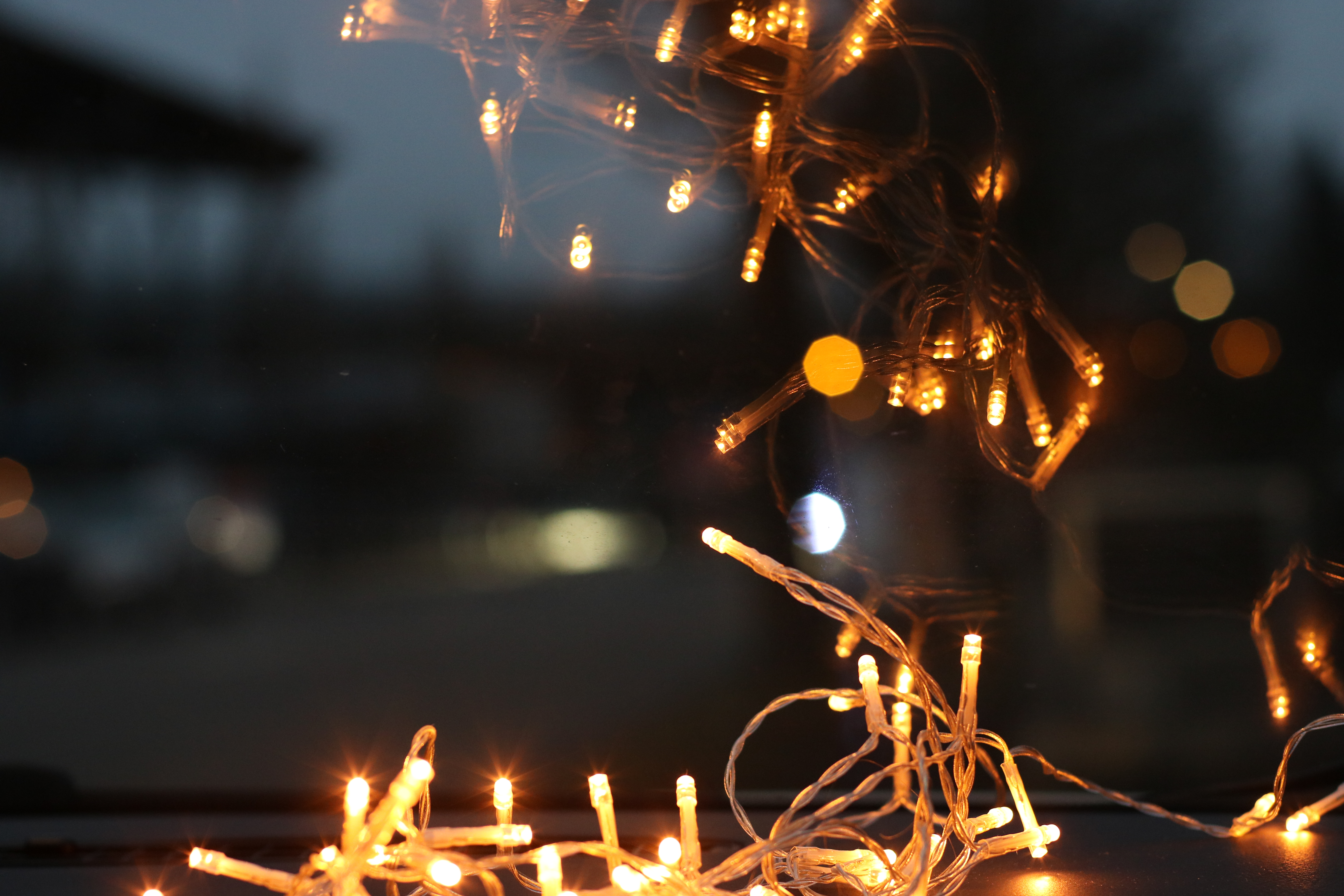 Close Up Photo of Brown String Lights
