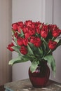 Bouquet of Red Roses on Glass Vase