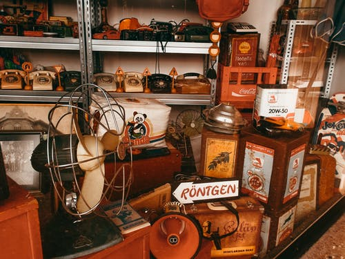 Various vintage products selling in shop