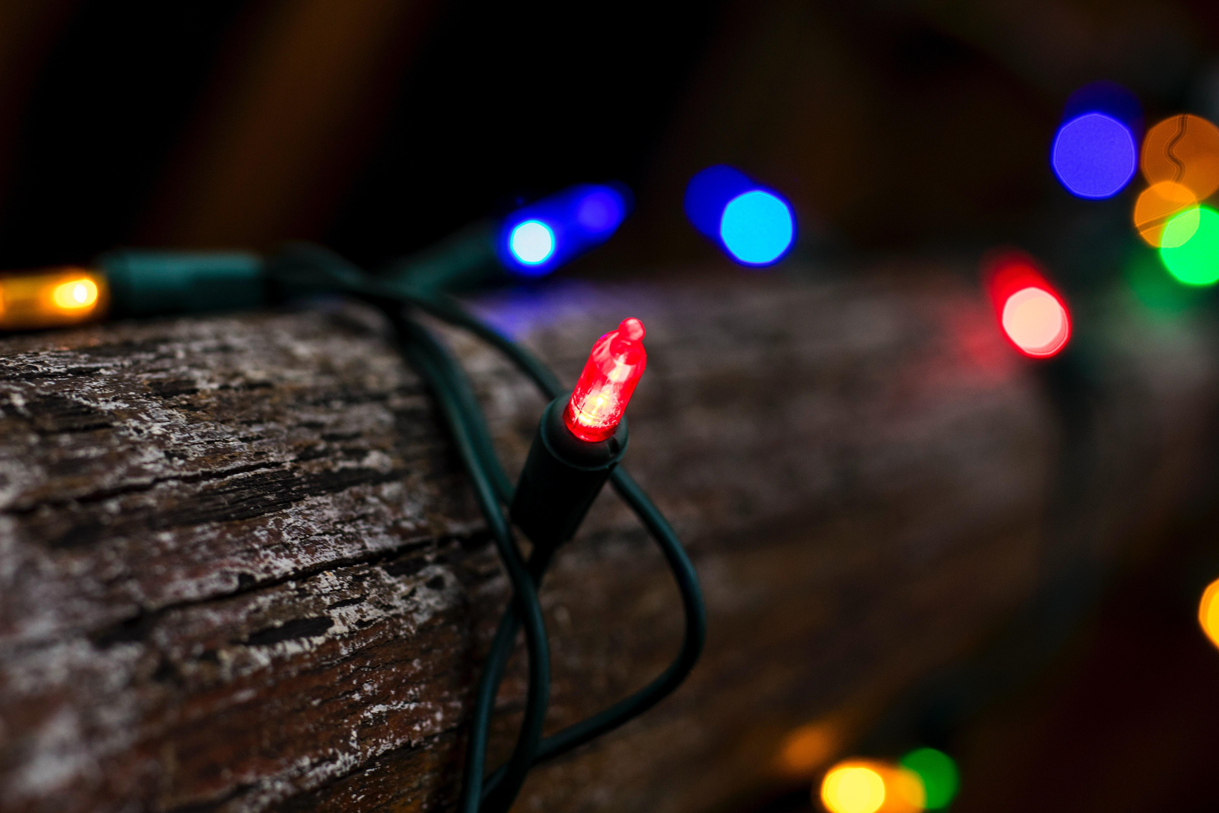 Colorful Christmas Lights Aesthetic.Tilt Shift Lens Photography Of String Lights Free Stock Photo