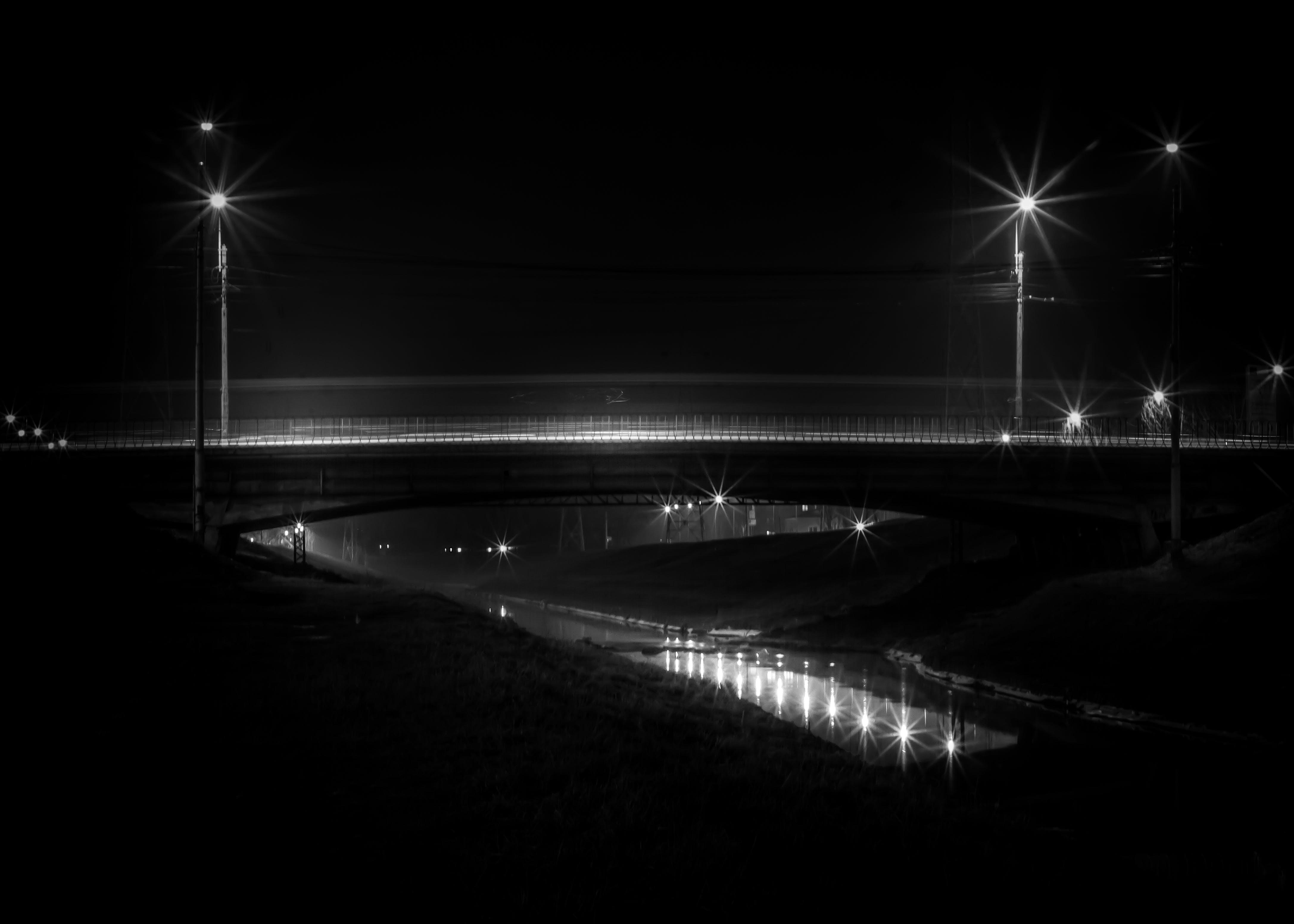 Free stock photo of night, dark, bridge, river