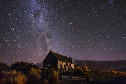 Brown and Black House Under Starry Night
