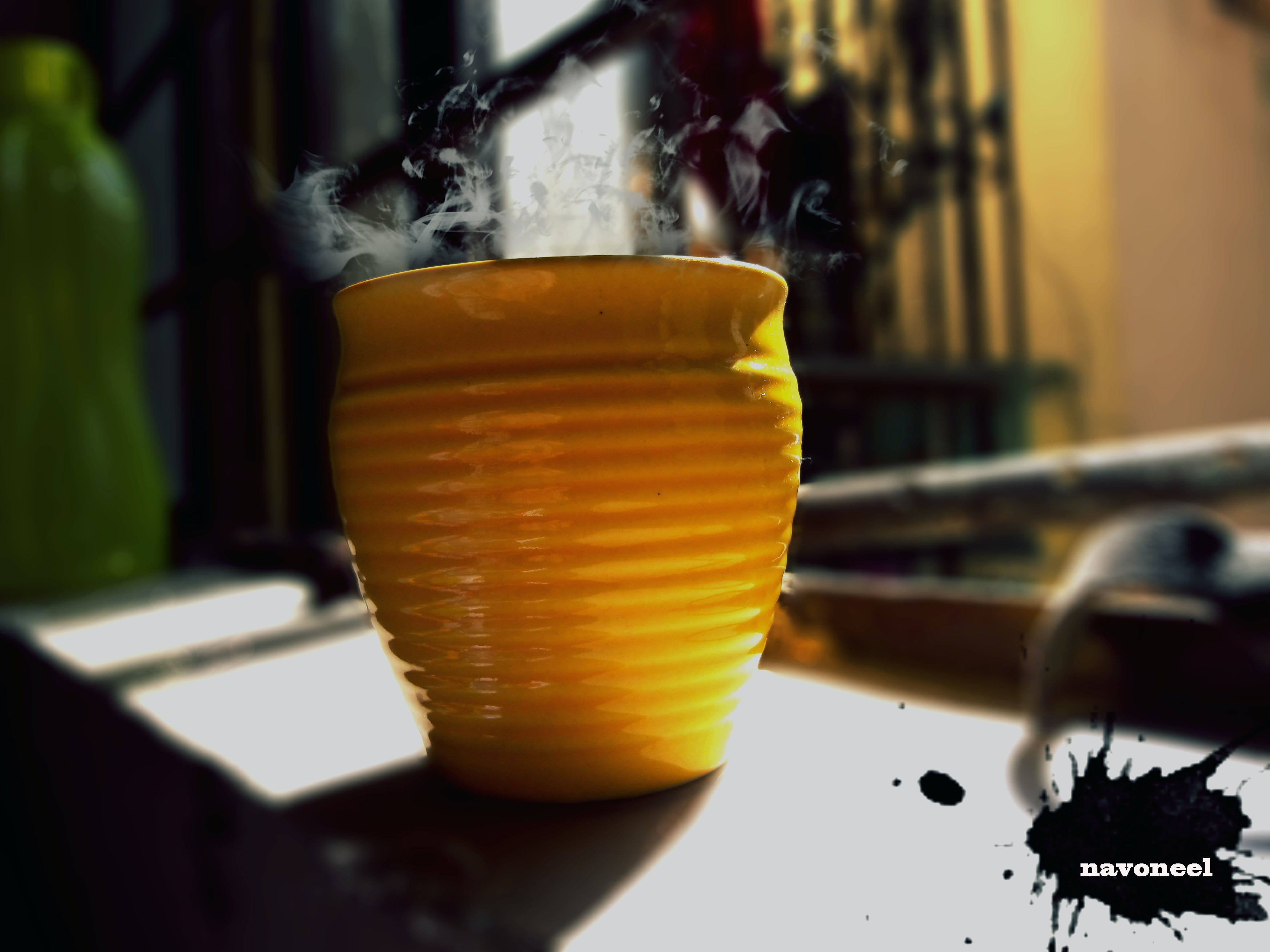 coffee, coffee cup, golden yellow
