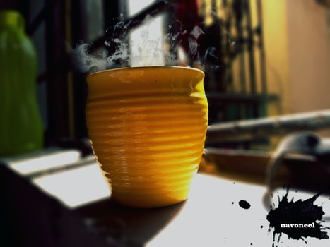 Free stock photo of coffee, coffee cup, smoke trail, golden yellow