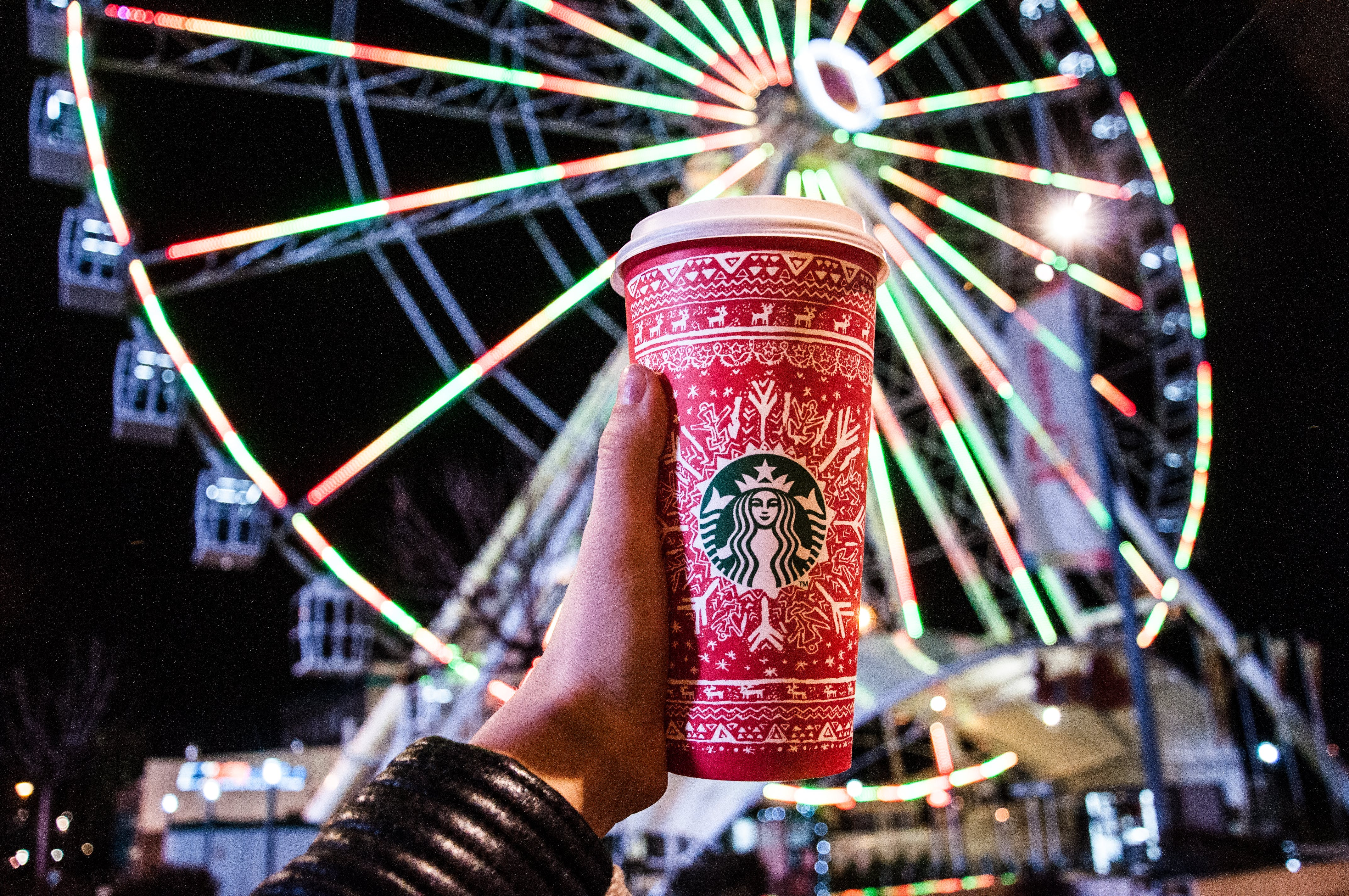 Red and White Starbucks Disposable Cup