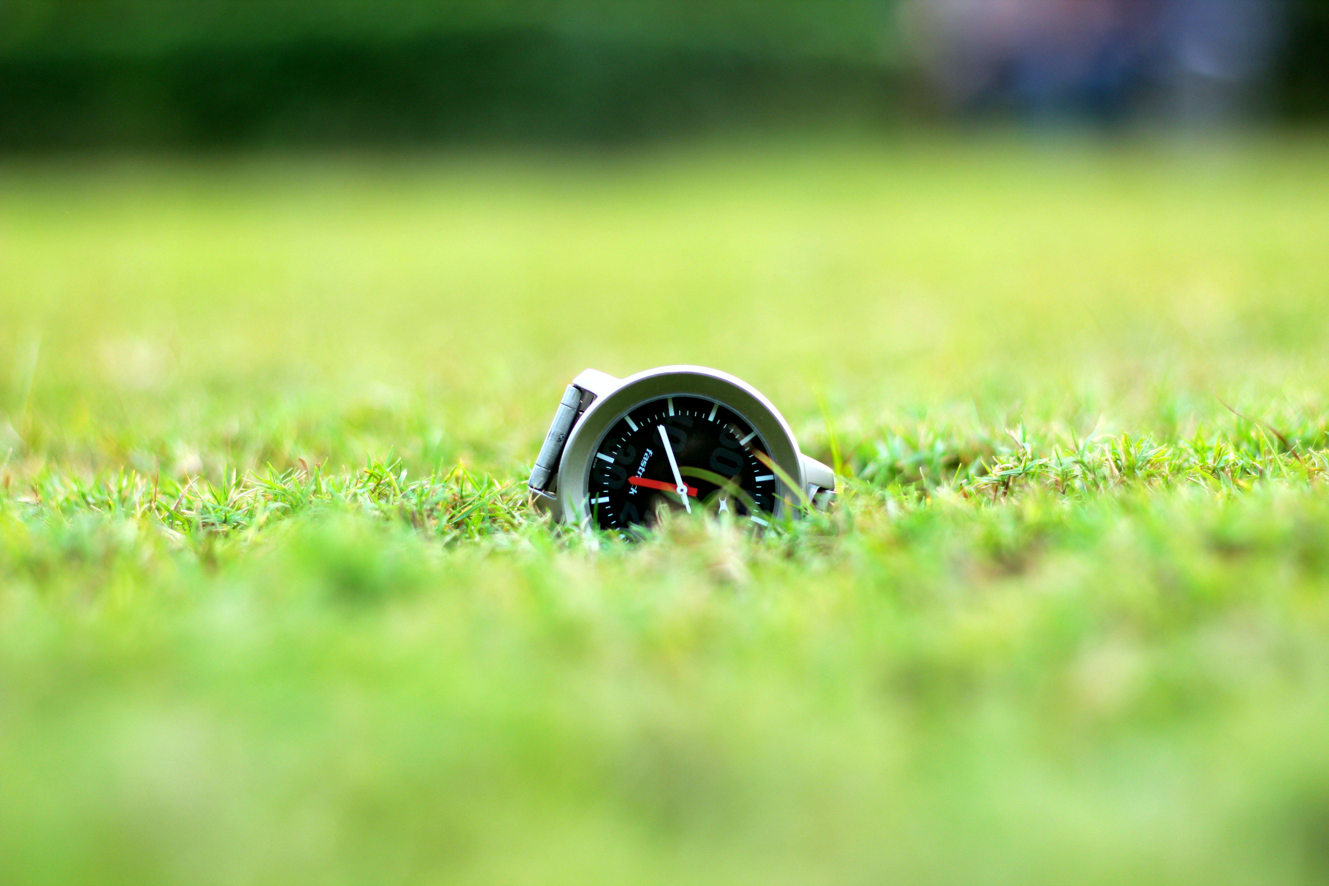 Round Grey And Black Analog Watch On Green Grass