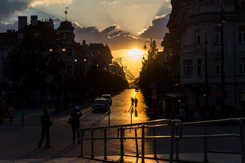 Free stock photo of evening sky, evening sun, lithuania, old town