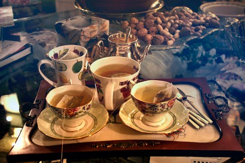 Three Cups of Teas on Serving Tray