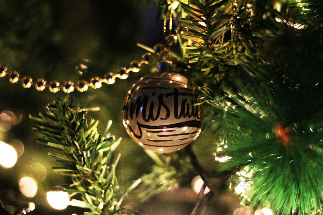 Gold Printed Bauble On Christmas Tree