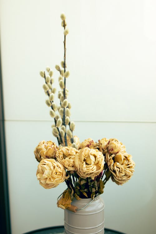 Yellow Flower Bouquet on White Wall