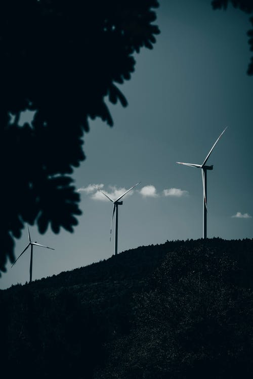 Picturesque view of modern windmills on green hill in countryside near trees under cloudy blue sky in summer