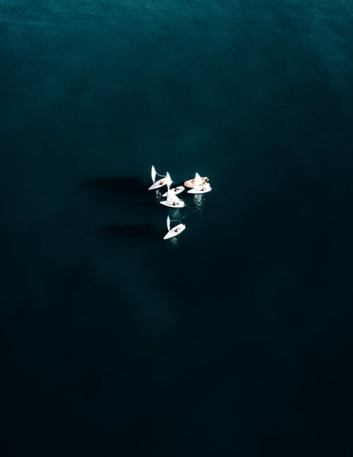 Aerial view of several white sailboats floating nearby on calm clear sea water in daylight