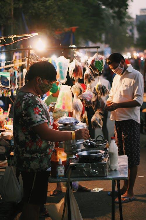 street vendor selling momos