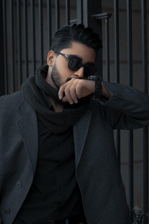 Man in Black Coat Wearing Black Sunglasses