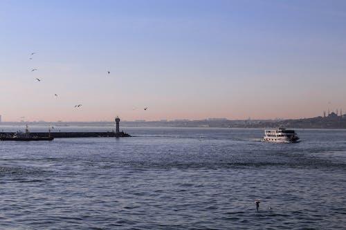 Ship floating on sea near pier