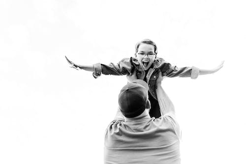 Free stock photo of airplane, black and white, dad and daughter bonding