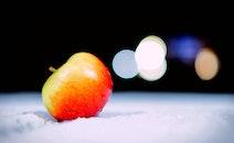 food, snow, apple