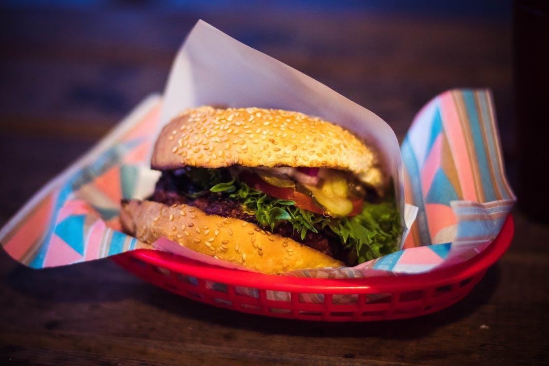 Hamburger on Red Tray