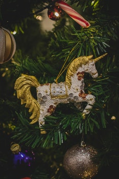 White and Brown Unicorn Hanging Decor
