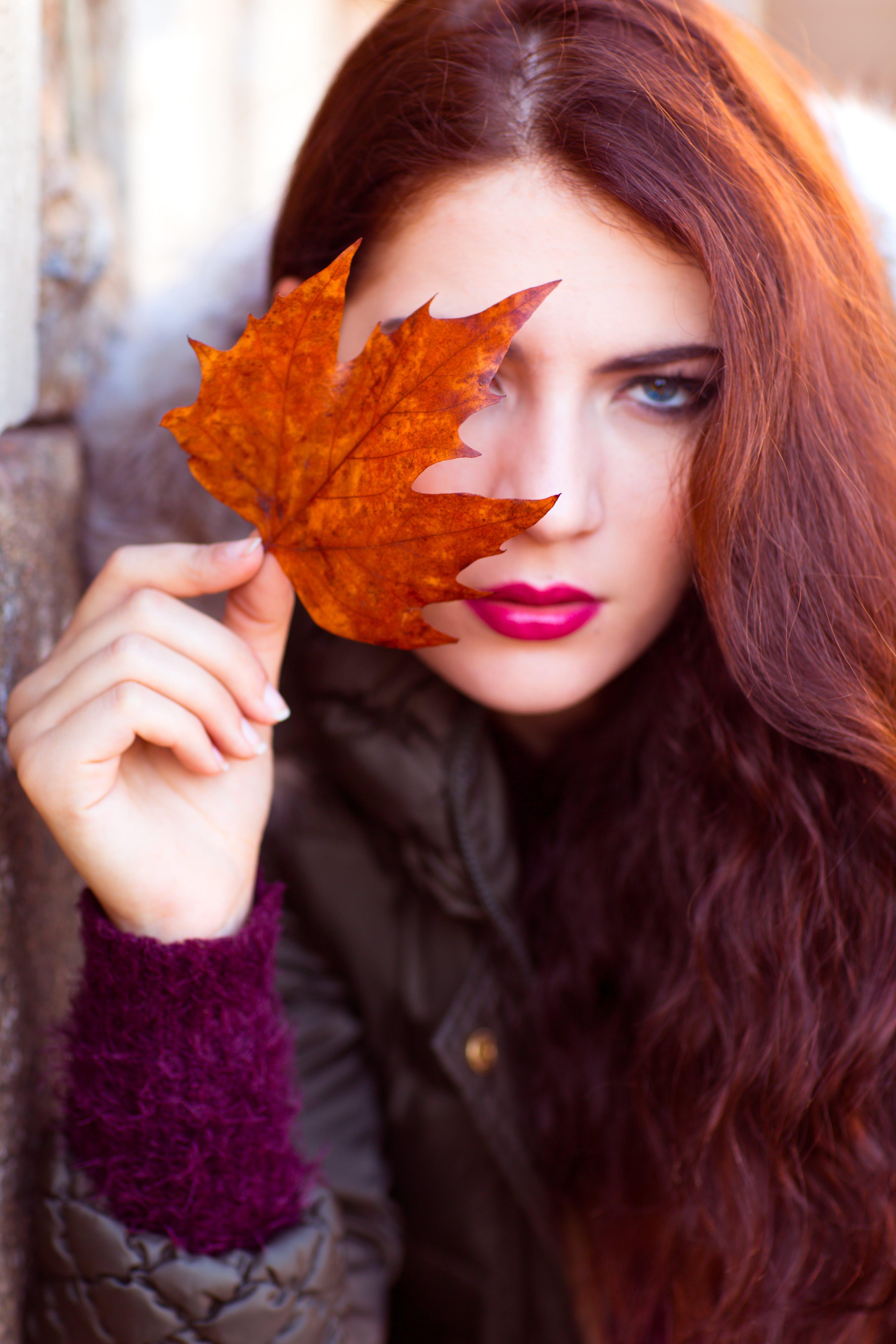Woman Wearing Black Zip-up Jacket Holding Brown Maple Leaf