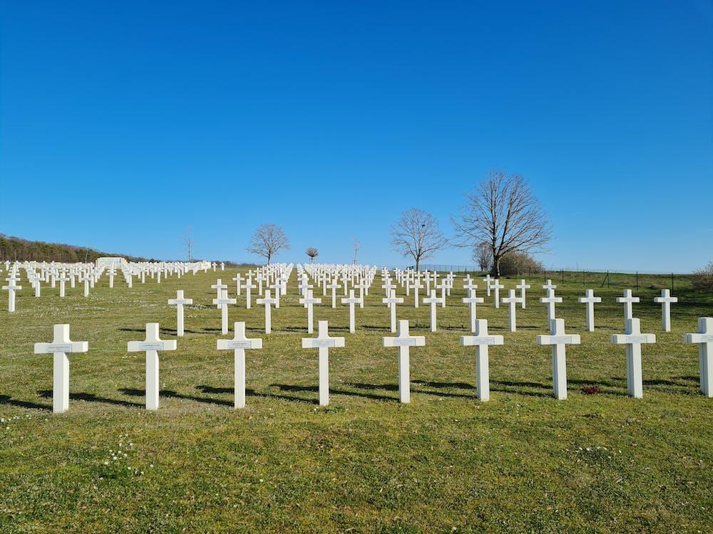 White Crosses on Green Grass Field