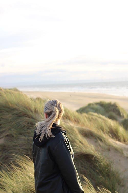 Immagine gratuita di campo d'erba, donna, duna