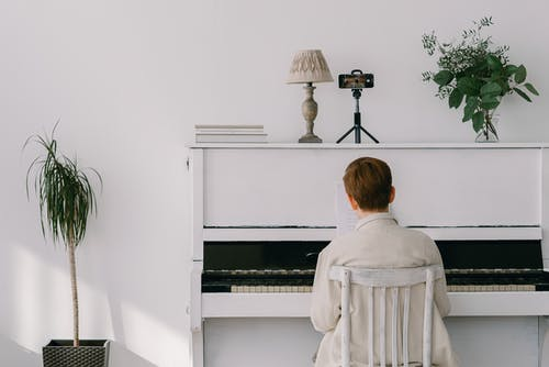 A Boy Playing the Piano