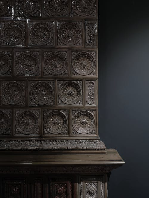 Ornamental relief of old column in museum
