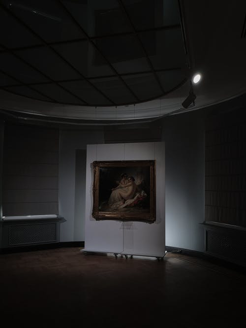 Interior of spacious museum with painting