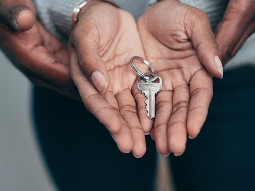 Key on a Person's Palm