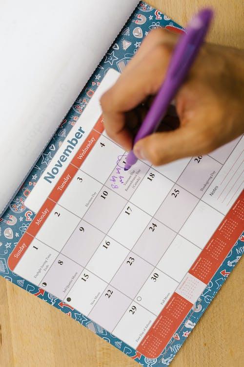 Foto d'estoc gratuïta de boli, bolígraf, calendari