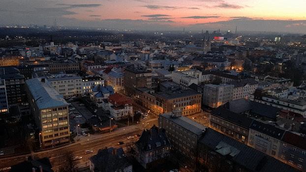Free stock photo of city, twilight, aerial, cityscape