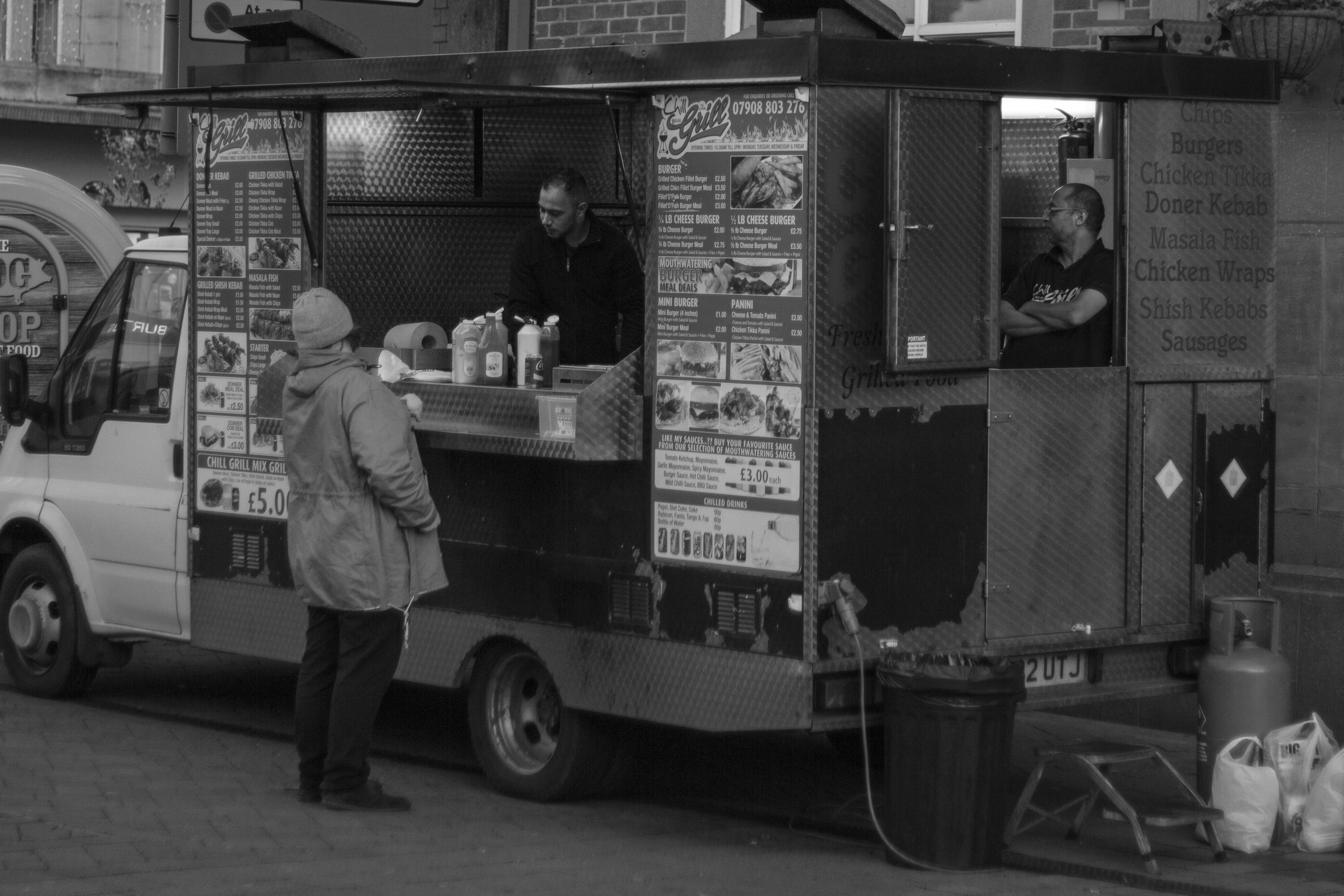 Free stock photo of food, lunch, urban, bw