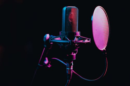 Black Microphone on a Stand