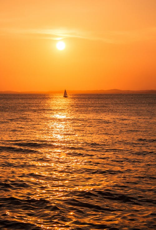 Sailboat on Sea during Sunset