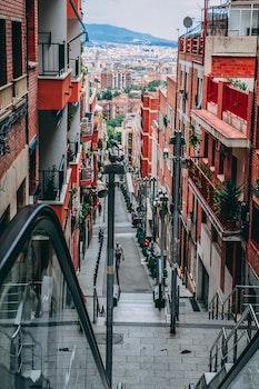 Photo of Downstairs Between Orange Buildings