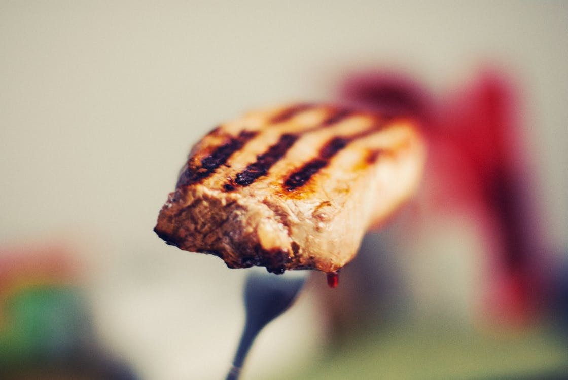 Grilled Meat on Silver-colored Fork