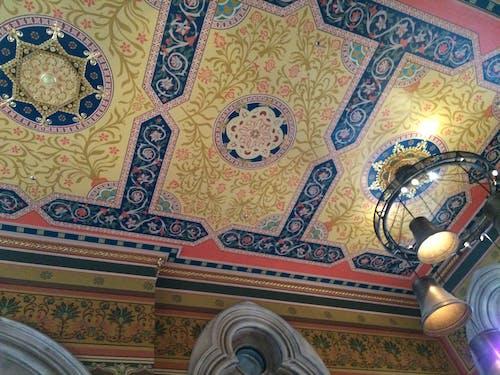 Free stock photo of St Pancras Hotel restored original ceiling