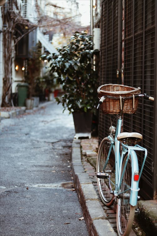 Bicycle with basket parked on paved walkway near old building with green plant on street in city