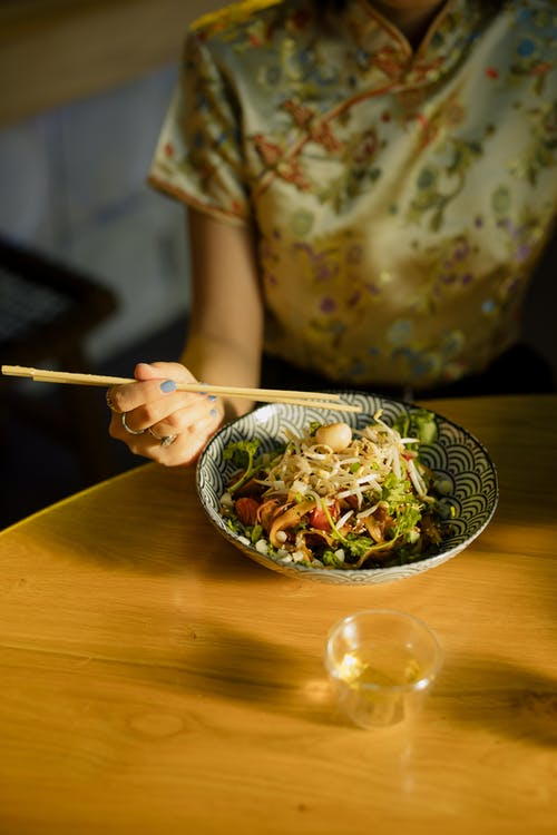 Person Holding Chopsticks and Bowl of Food