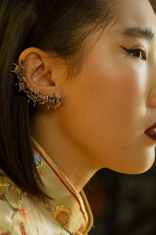 Woman with Fashionable Earrings