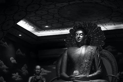 Grayscale Photo of Hindu Deity Statue