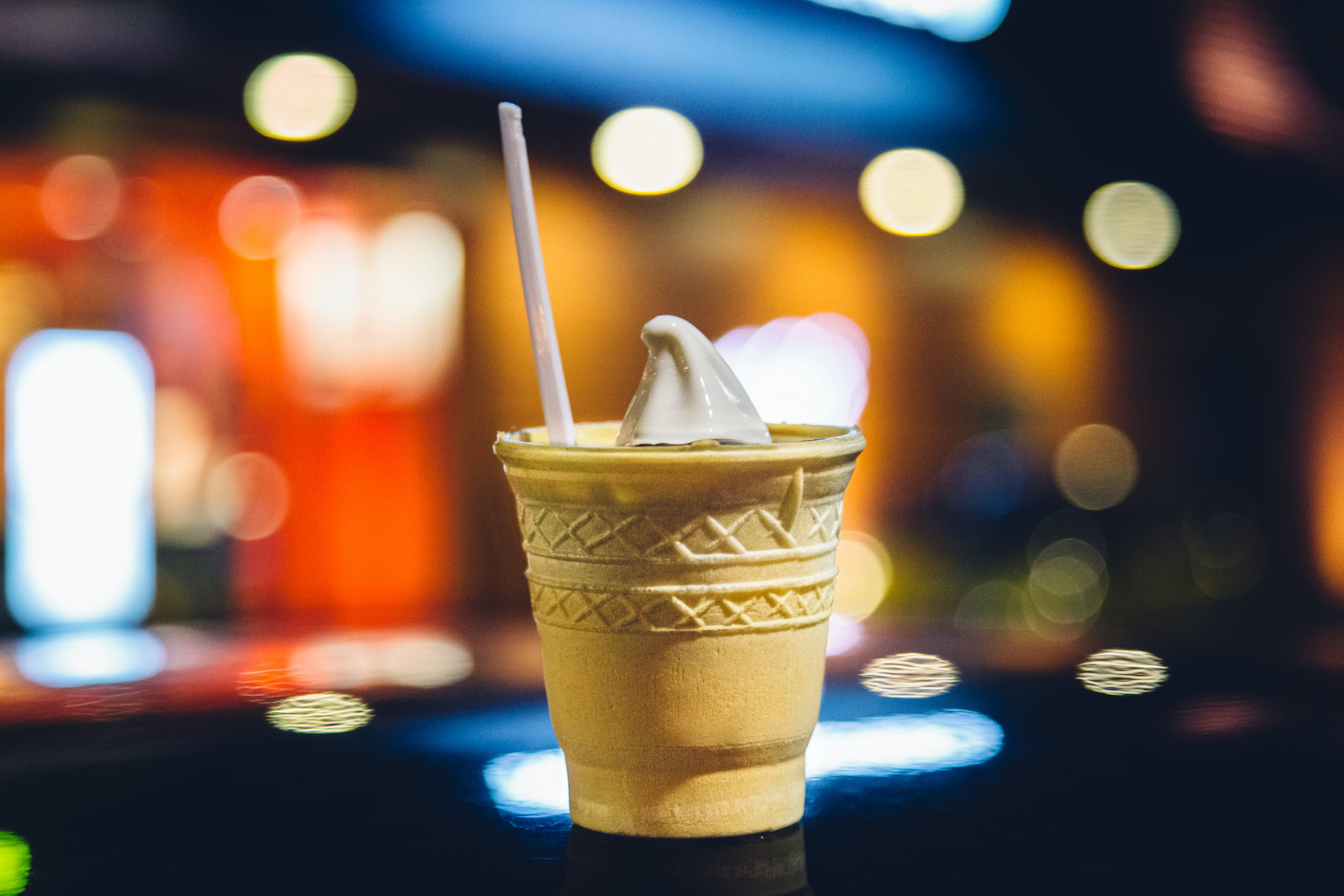 Beige Cone Filled With White Vanilla Ice Cream