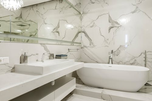Contemporary MarbleWalls Bath Room