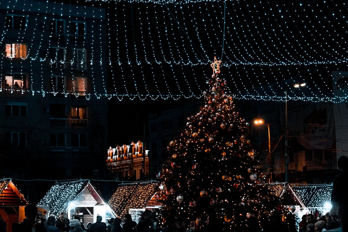 Christmas Tree With Decorations during Nighttime