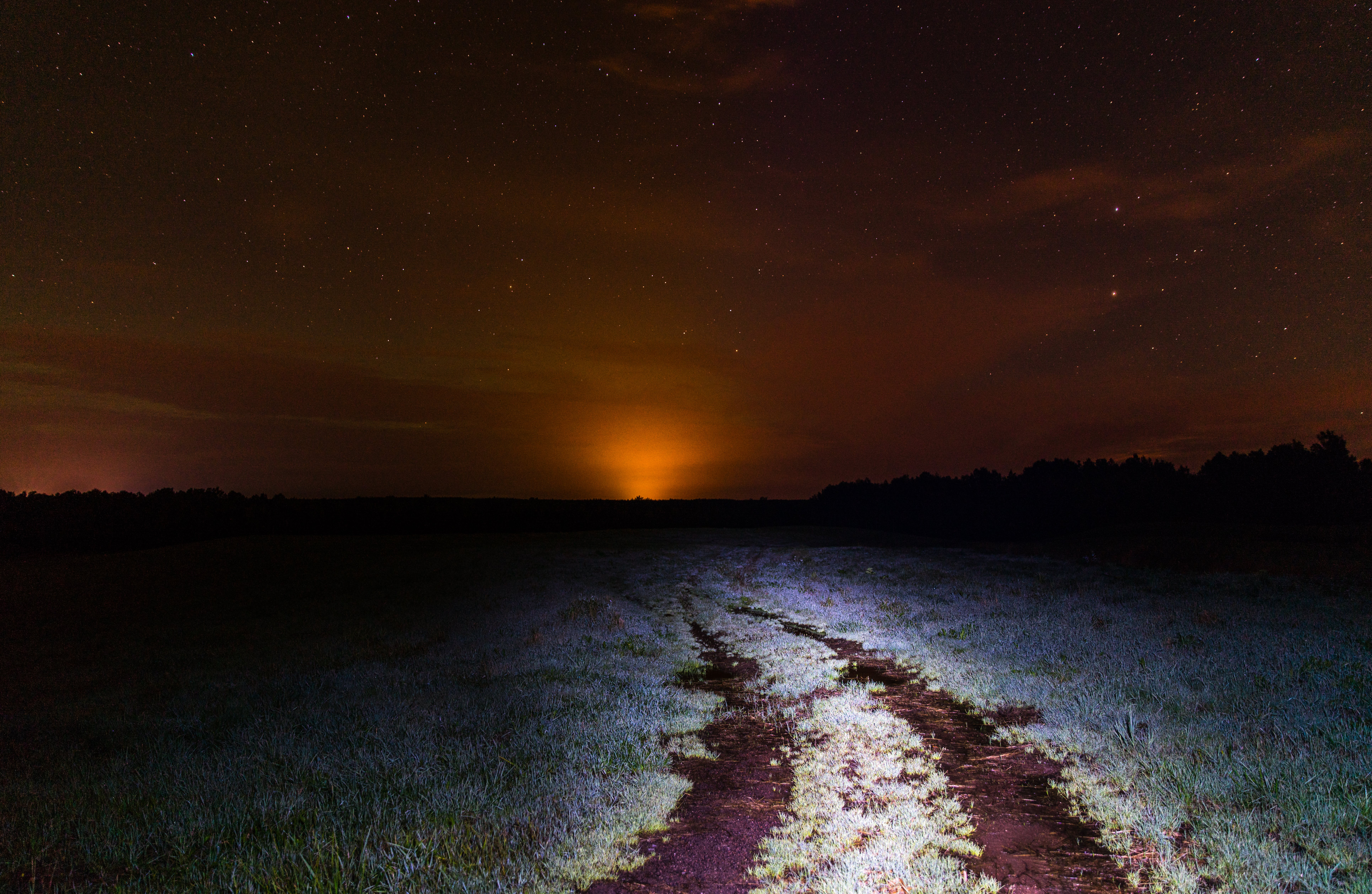 Scenic View of Open Field During Night Time