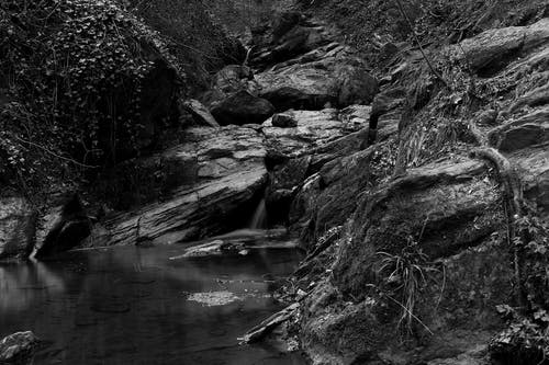 Grayscale Photo of River Between Rocks